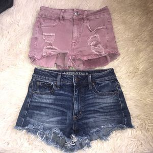 Lot of2 American Eagle Shorts Hi-Rise Shortie Sz 0